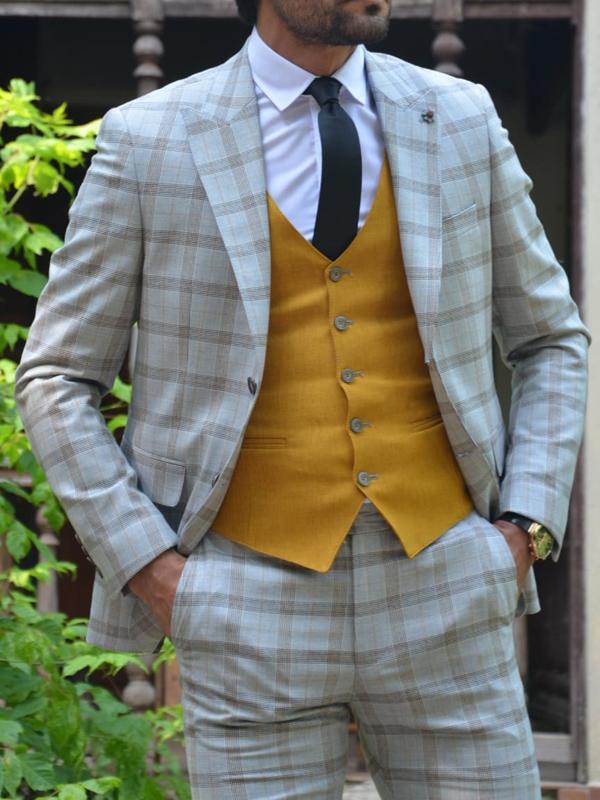 Aysoti New Gentleman Camel Slim Fit Plaid Suit
