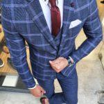 Aysoti New Gentleman Indigo Slim Fit Plaid Check Suit