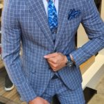 Aysoti New Bern Navy Blue Slim Fit Check Suit