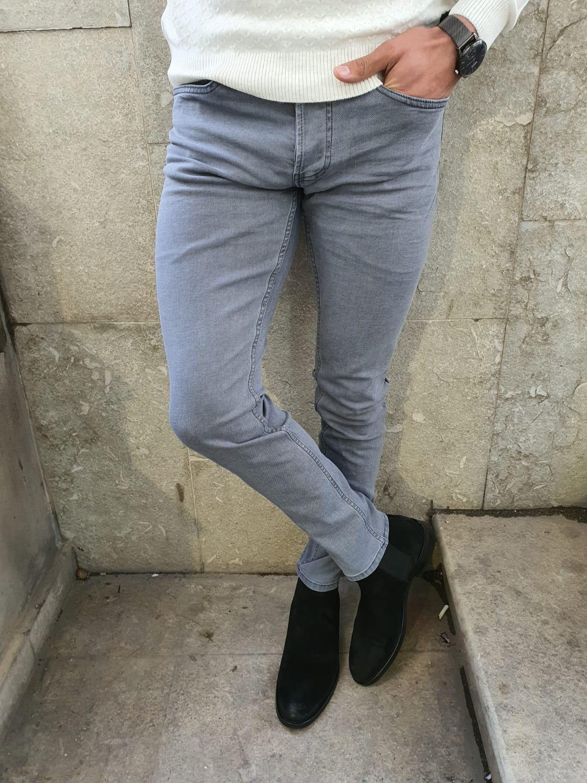 Aysoti Gray Slim Fit Handmade Jeans