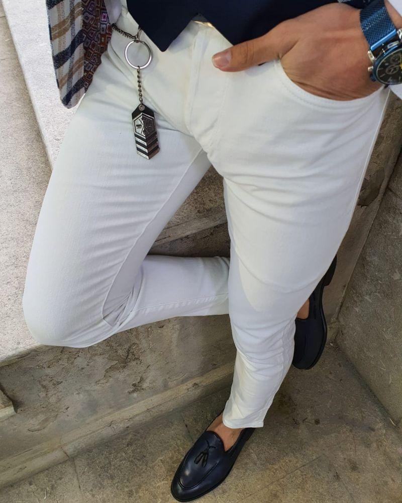 Brandon White Slim Fit Handmade Jeans