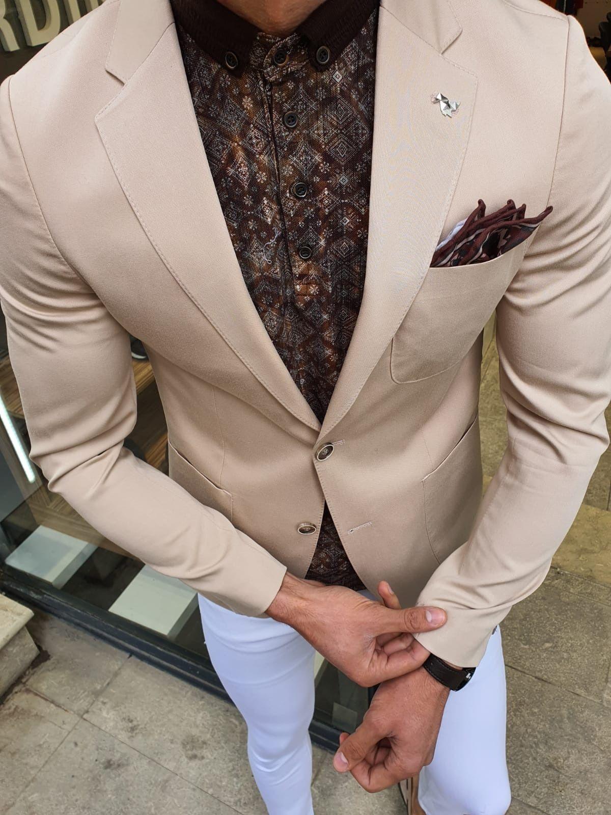 Aysoti Beige Slim Fit Blazer