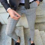 Aysoti Langred Gray Slim Fit Plaid Pants