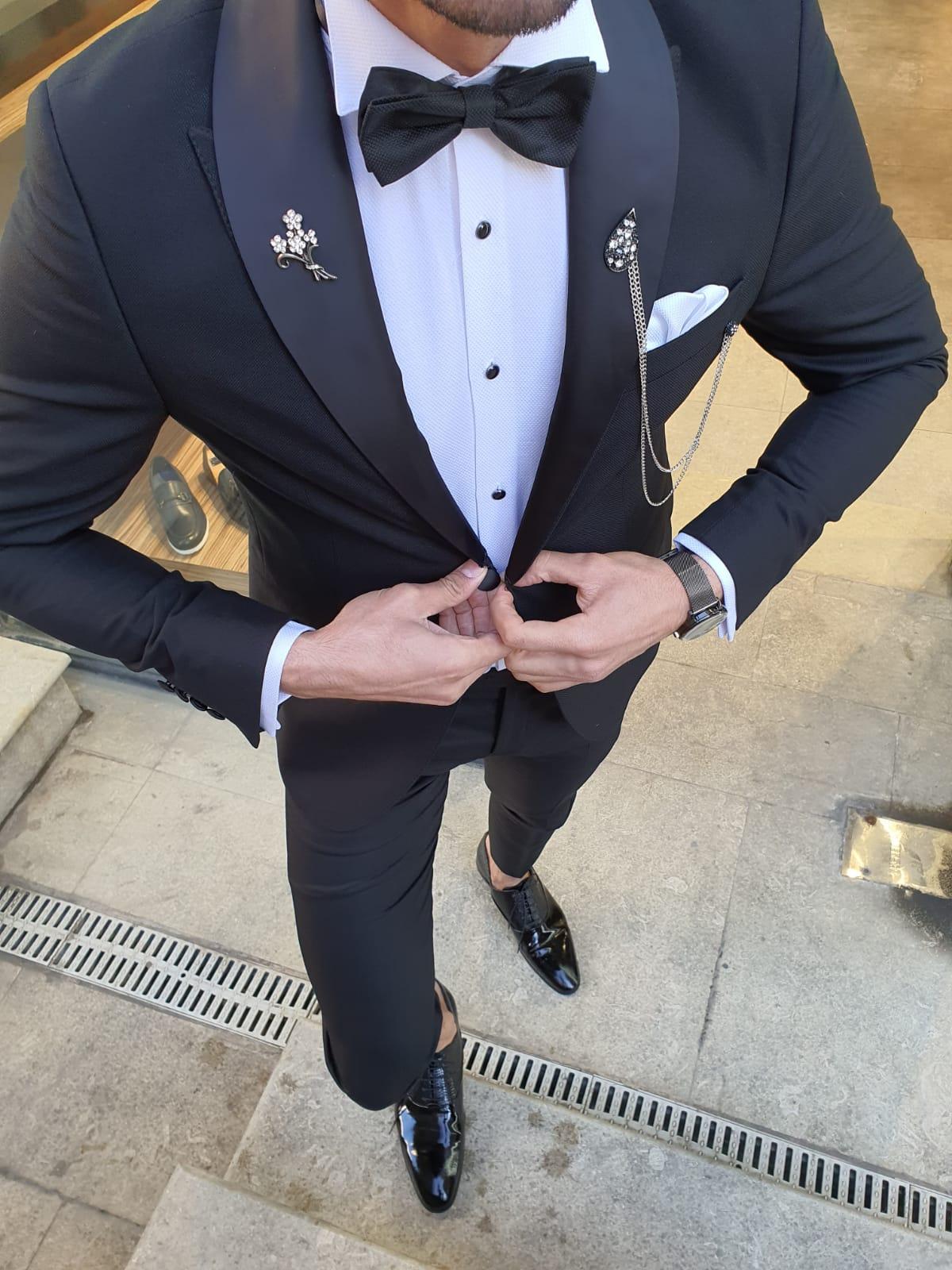 Olgop Black Slim Fit Shawl Lapel Tuxedo