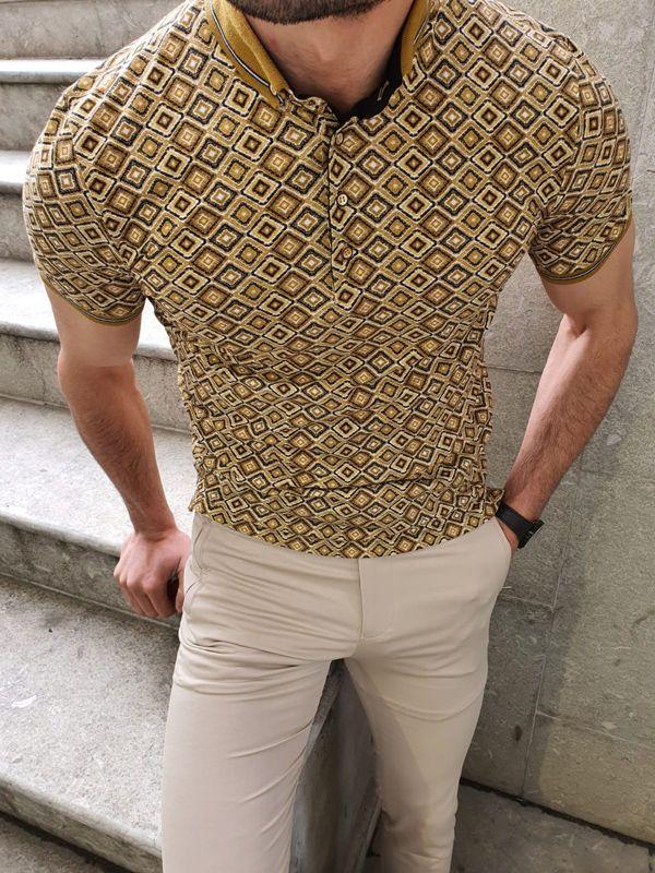 Aysoti Camel Slim Fit Button Collar Polo Shirt