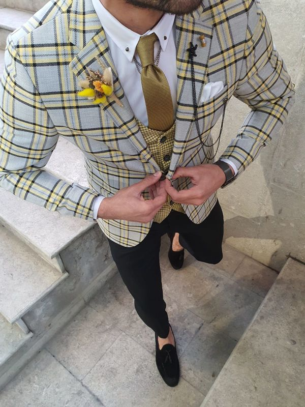 Aysoti Bolleward Yellow Gray Slim Fit Plaid Check Suit