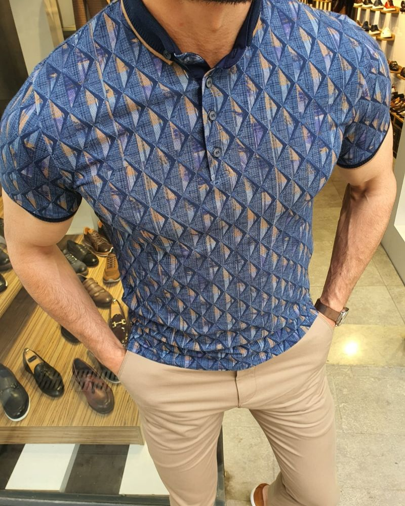 Aysoti Navy Blue Slim Fit Button Collar Polo Shirt