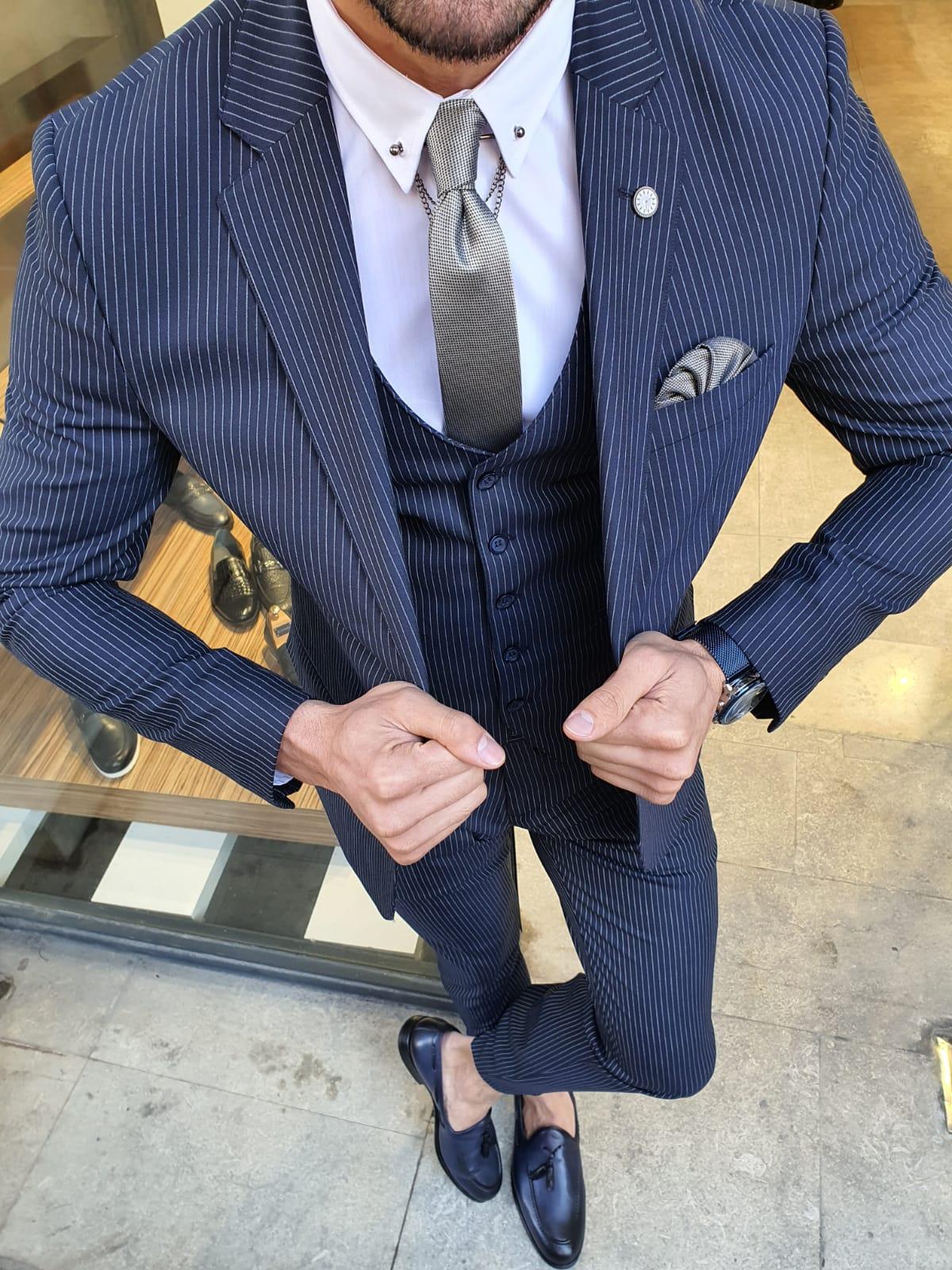 Aysoti Varada Navy Blue Slim Fit Pinstripe Suit