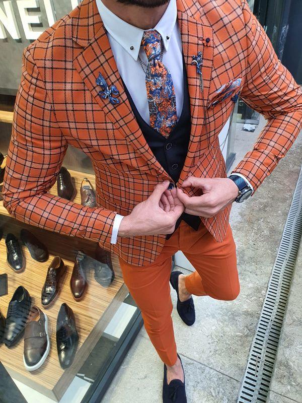 Aysoti Varada Orange Slim Fit Plaid Suit
