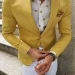 Aysoti Yellow Slim Fit Blazer