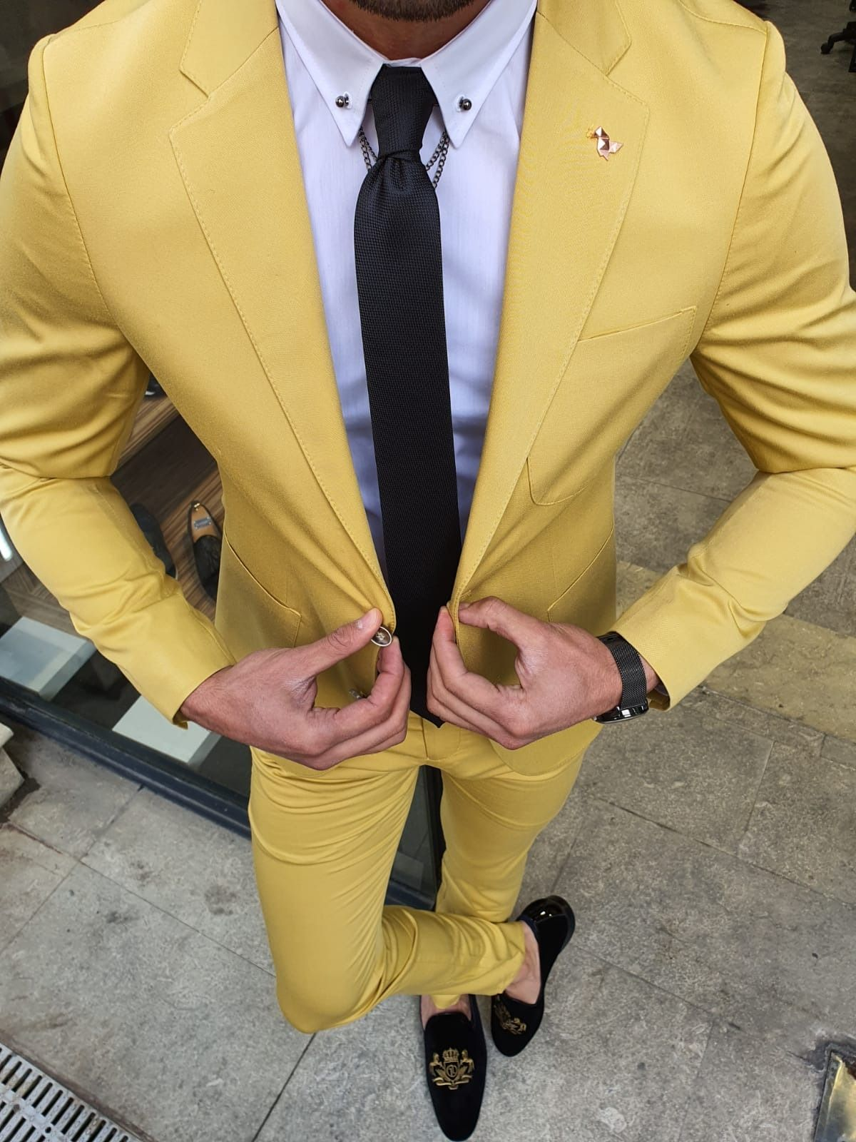 Aysoti Oland Yellow Slim Fit Suit