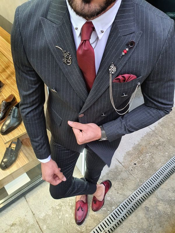 Aysoti Oland Black Slim Fit Double Breasted Pinstripe Suit