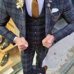 Aysoti Omnia Dark Blue Slim Fit Plaid Check Suit