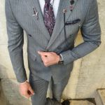 Aysoti Oland Gray Slim Fit Double Breasted Pinstripe Suit