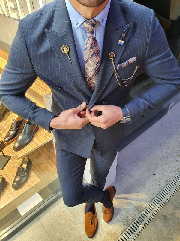 Aysoti Oland Navy Blue Slim Fit Double Breasted Pinstripe Suit