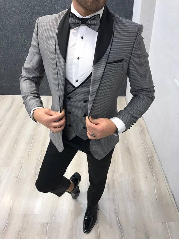 Monte Carlo Gray Slim Fit Shawl Collar Tuxedo