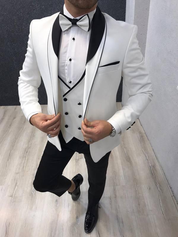 Monte Carlo White Slim Fit Shawl Collar Tuxedo