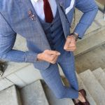 Aysoti Varada Blue Slim Fit Plaid Suit