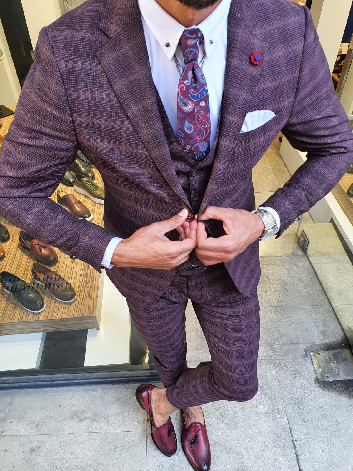 Aysoti New Gentleman Burgundy Slim Fit Plaid Suit