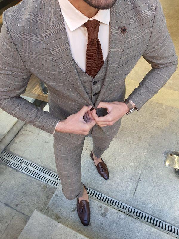 Aysoti Varada Gray Slim Fit Plaid Suit