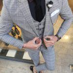 Aysoti Varada Light Gray Slim Fit Plaid Suit