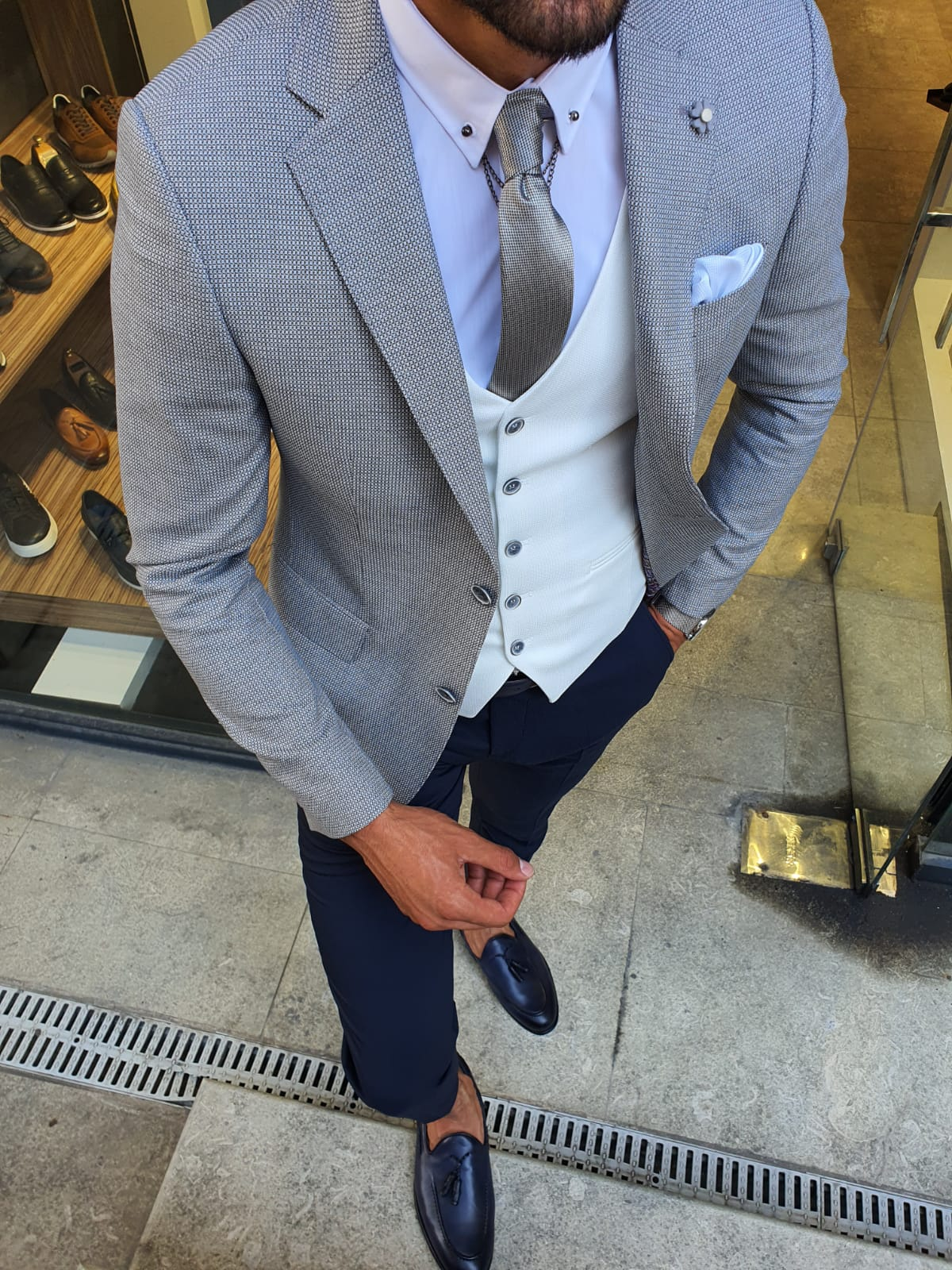 Aysoti New Gentleman Gray Slim Fit Suit