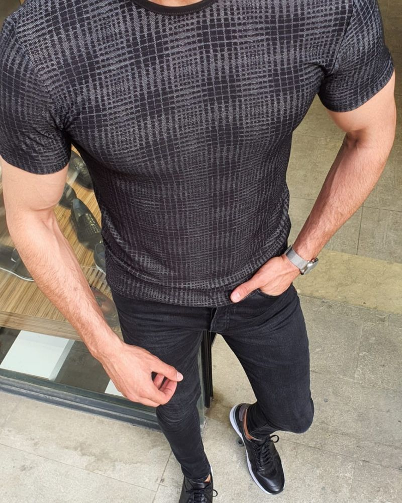 Aysoti Black Slim Fit Round Neck T-Shirt