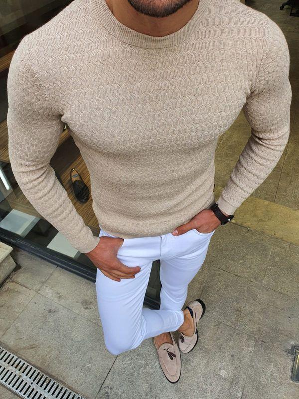 Aysoti Beige Slim Fit Crew Neck Sweater