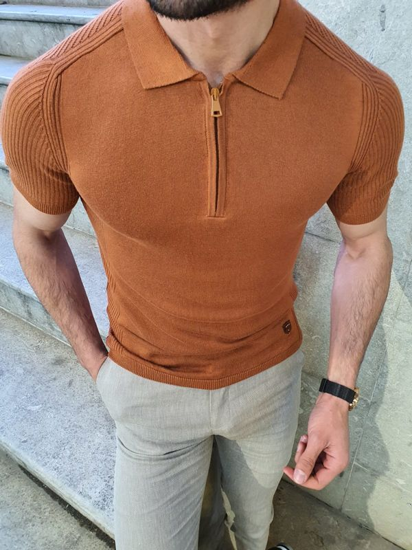 Aysoti Brown Slim Fit Collar Neck Zipper Knitwear T-Shirt