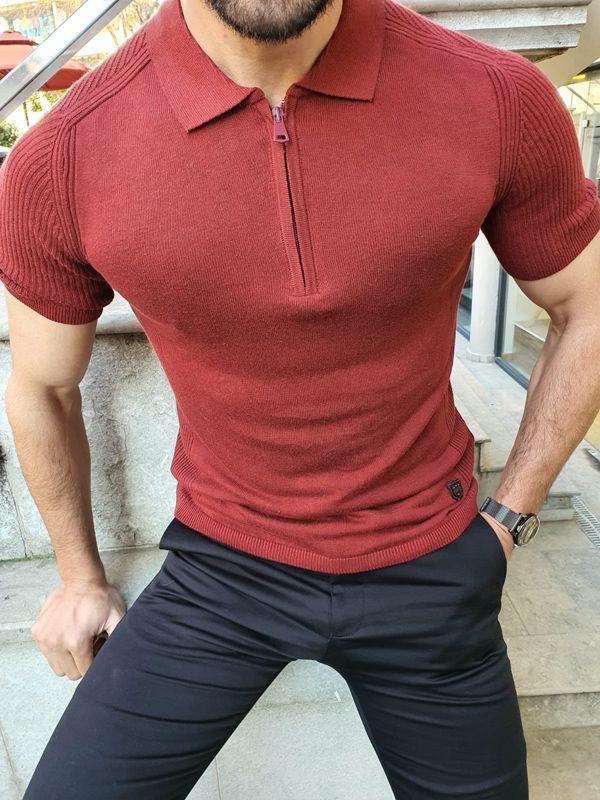 Aysoti Claret Red Slim Fit Collar Neck Zipper Knitwear T-Shirt