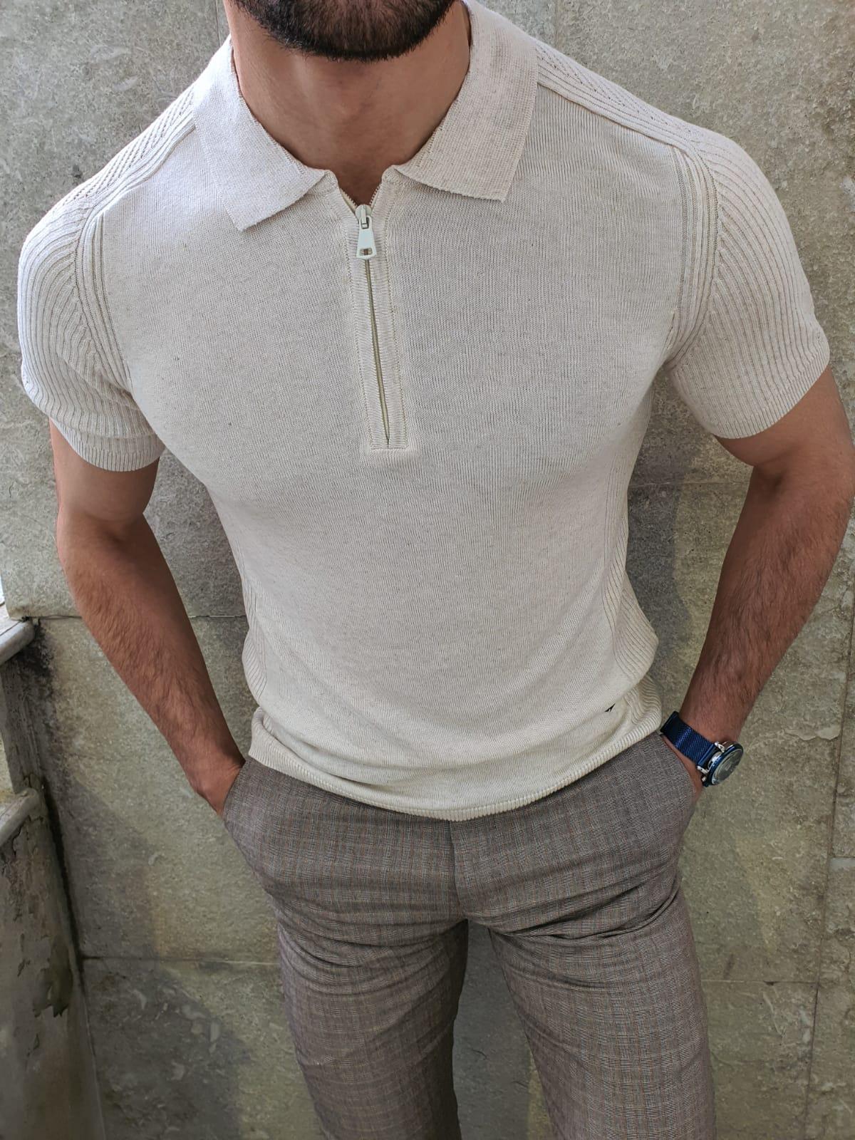Aysoti White Slim Fit Collar Neck Zipper Knitwear T-Shirt