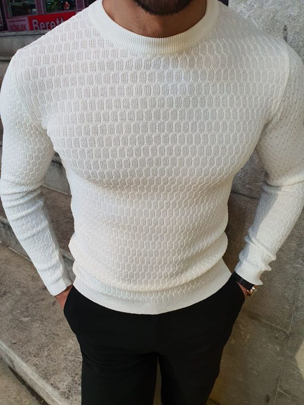 Aysoti White Slim Fit Crew Neck Sweater