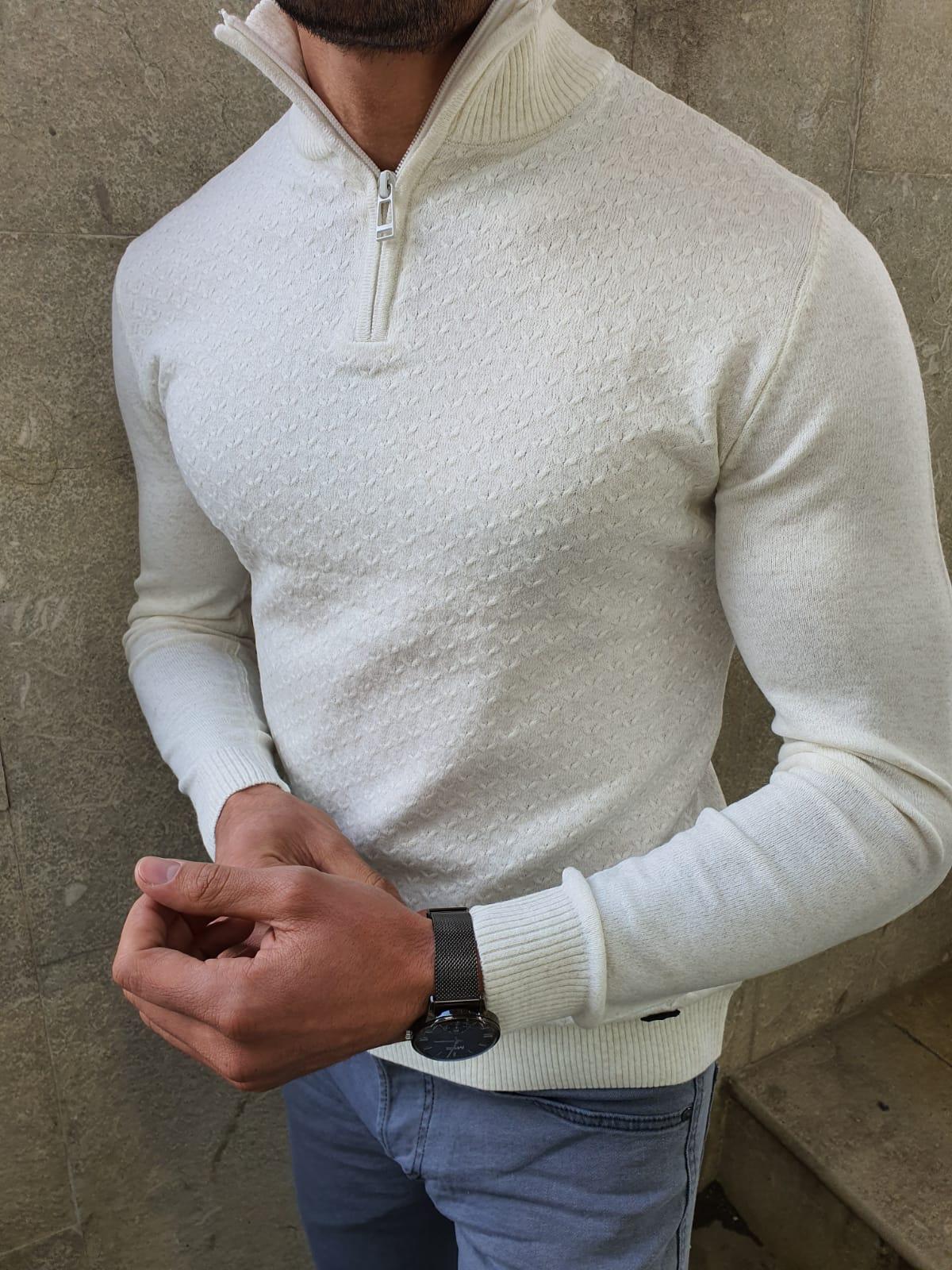 Aysoti White Slim Fit Zipper Mock Turtleneck Sweater