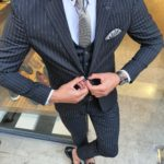 Aysoti Reno Black Slim Fit Pinstripe Suit