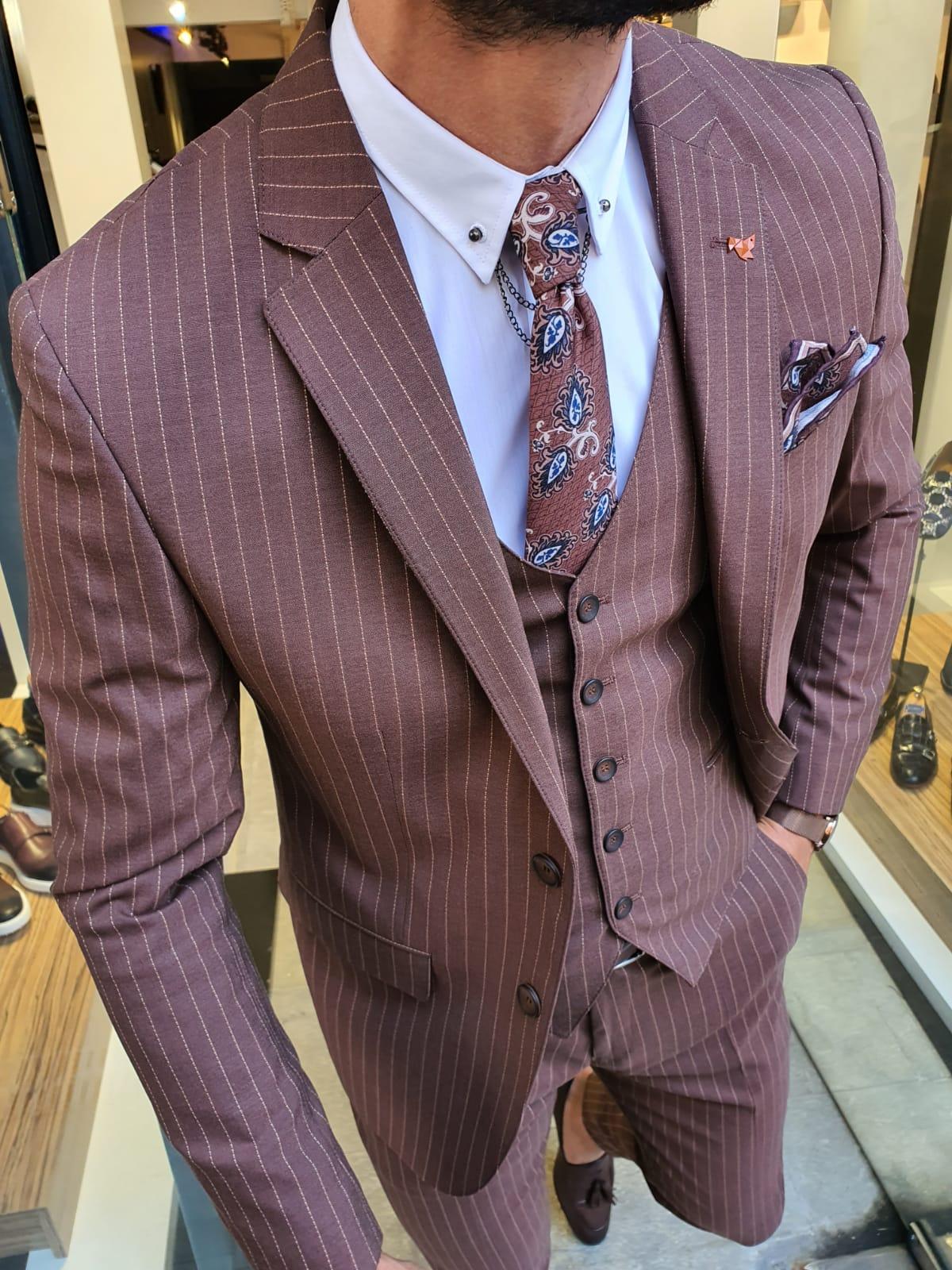 Aysoti Burgundy Slim Fit Pinstripe Suit