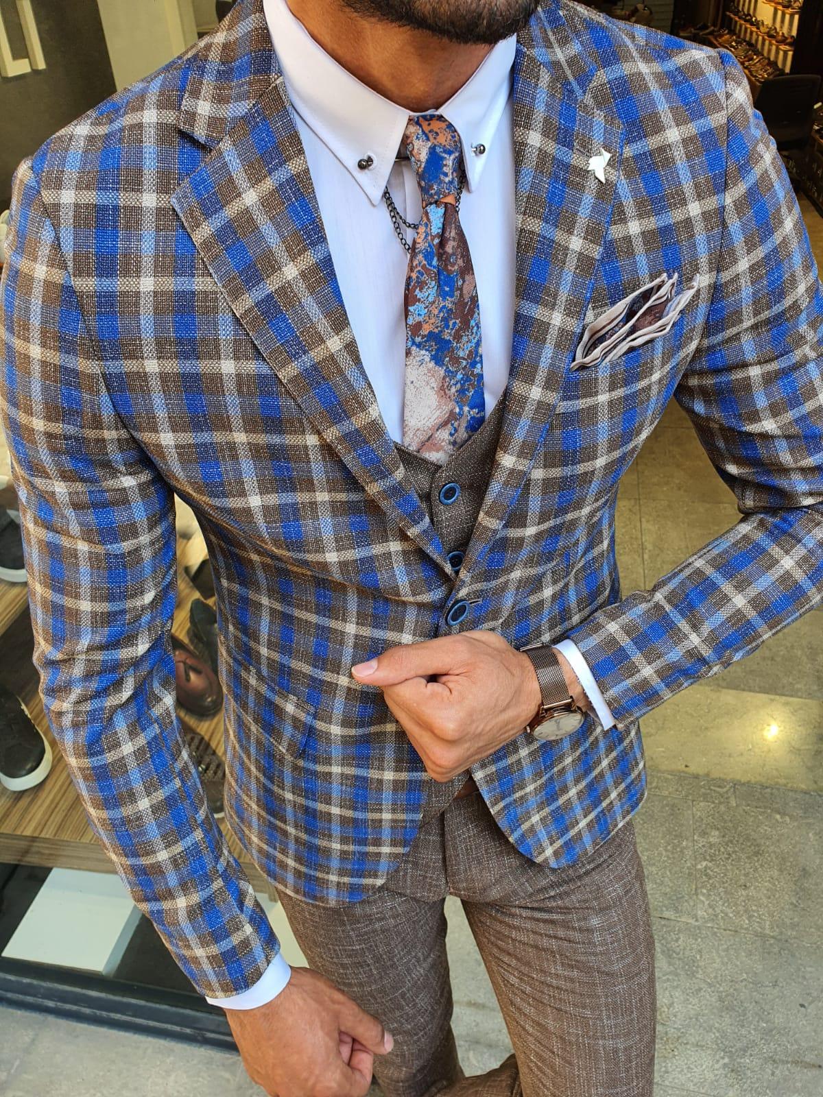 Aysoti Camel Slim Fit Plaid Check Suit