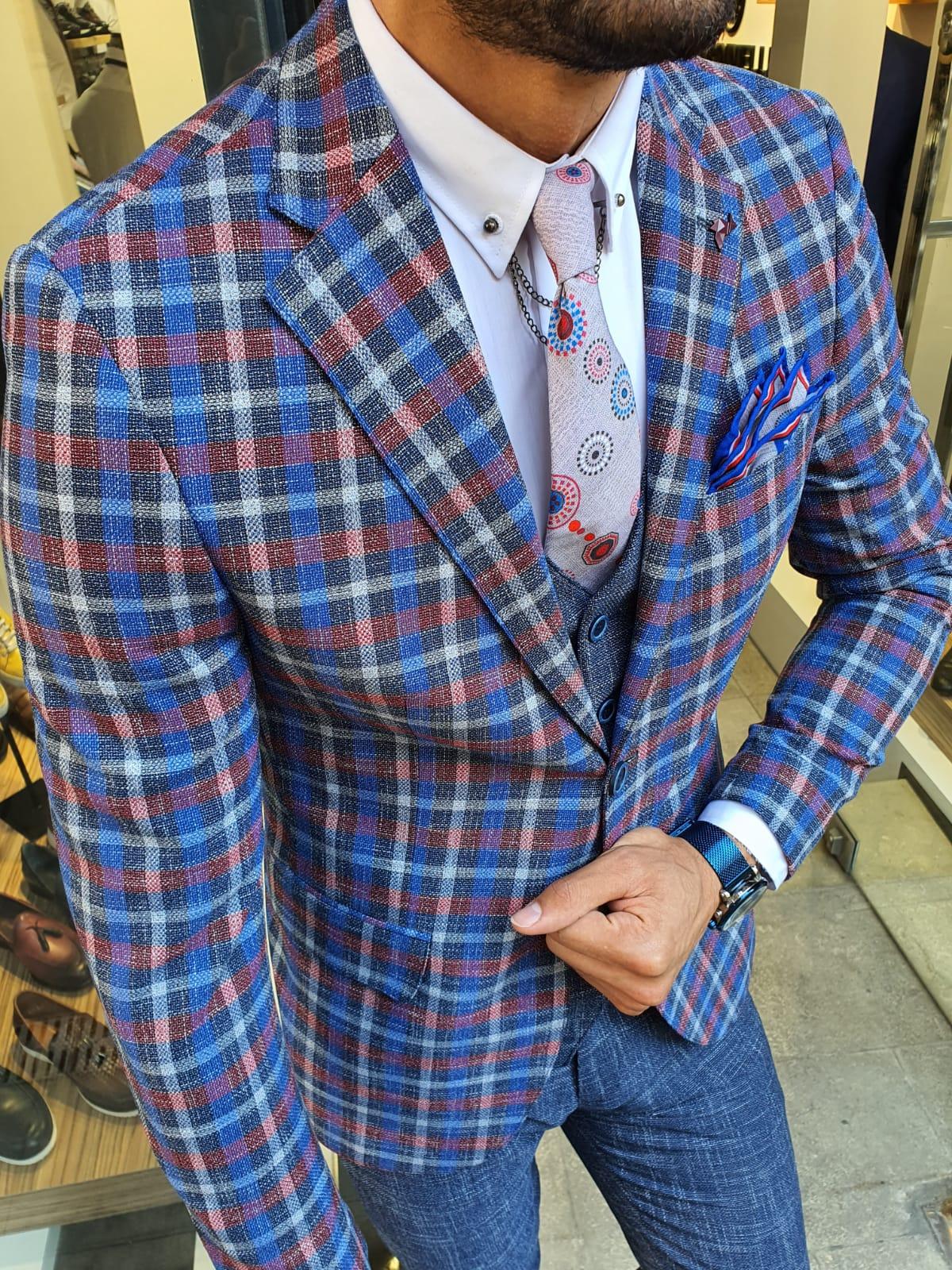 Aysoti Reno Navy Blue Slim Fit Plaid Check Suit
