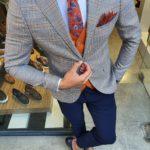 Aysoti Reno Orange Slim Fit Plaid Suit