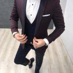 Aysoti Varna Burgundy Slim Fit Tuxedo