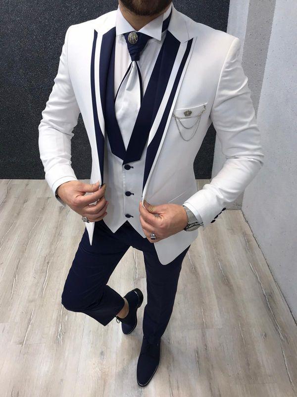 Aysoti Richmond White Wedding Suit