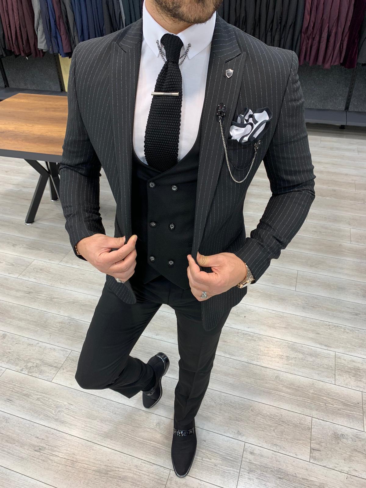 Aysoti Tegol Black Slim Fit Pinstripe Suit