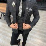Aysoti Salem Black Slim Fit Plaid Check Suit