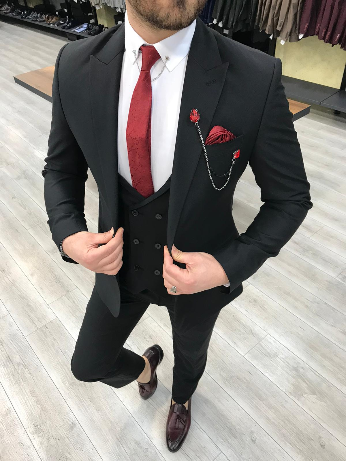 Svera Black Slim Fit Wool Suit