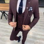 Aysoti Tegol Burgundy Slim Fit Pinstripe Suit