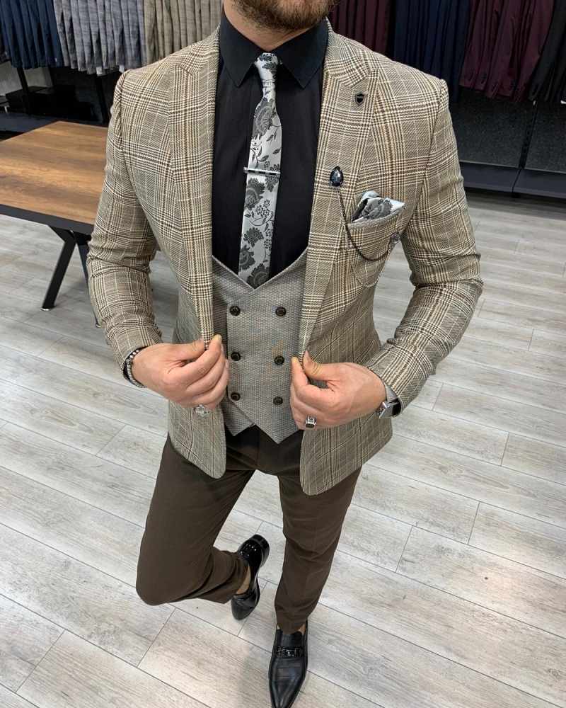 Aysoti Coffee Slim Fit Plaid Suit