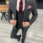 Aysoti Tegol Gray Slim Fit Pinstripe Suit