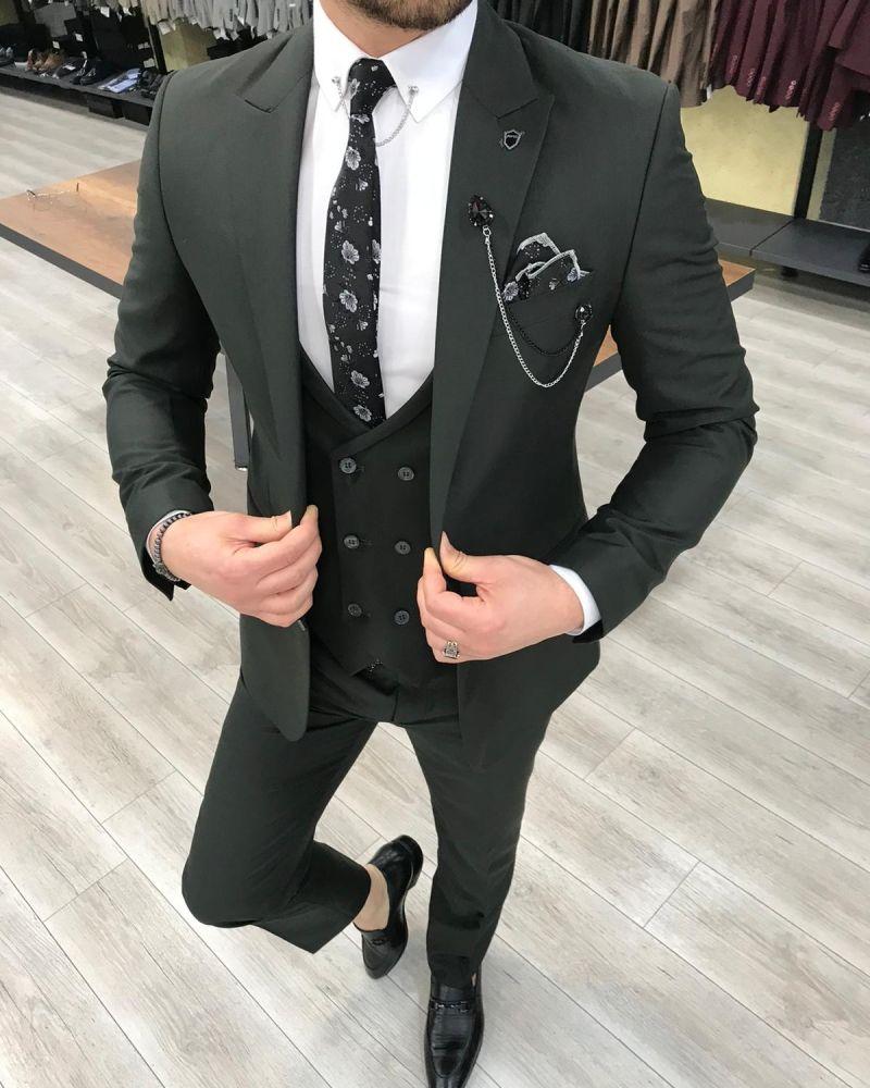 Svera Khaki Slim Fit Wool Suit