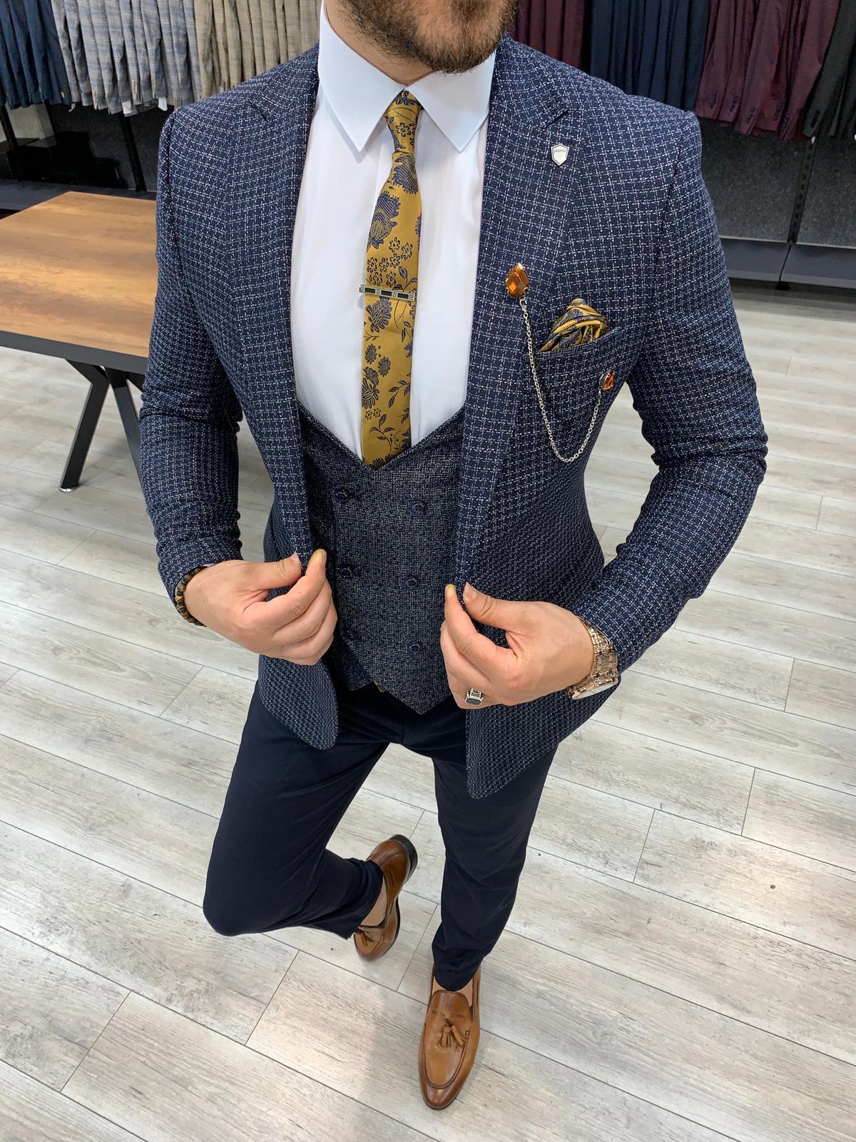 Aysoti Salem Navy Blue Slim Fit Plaid Check Suit