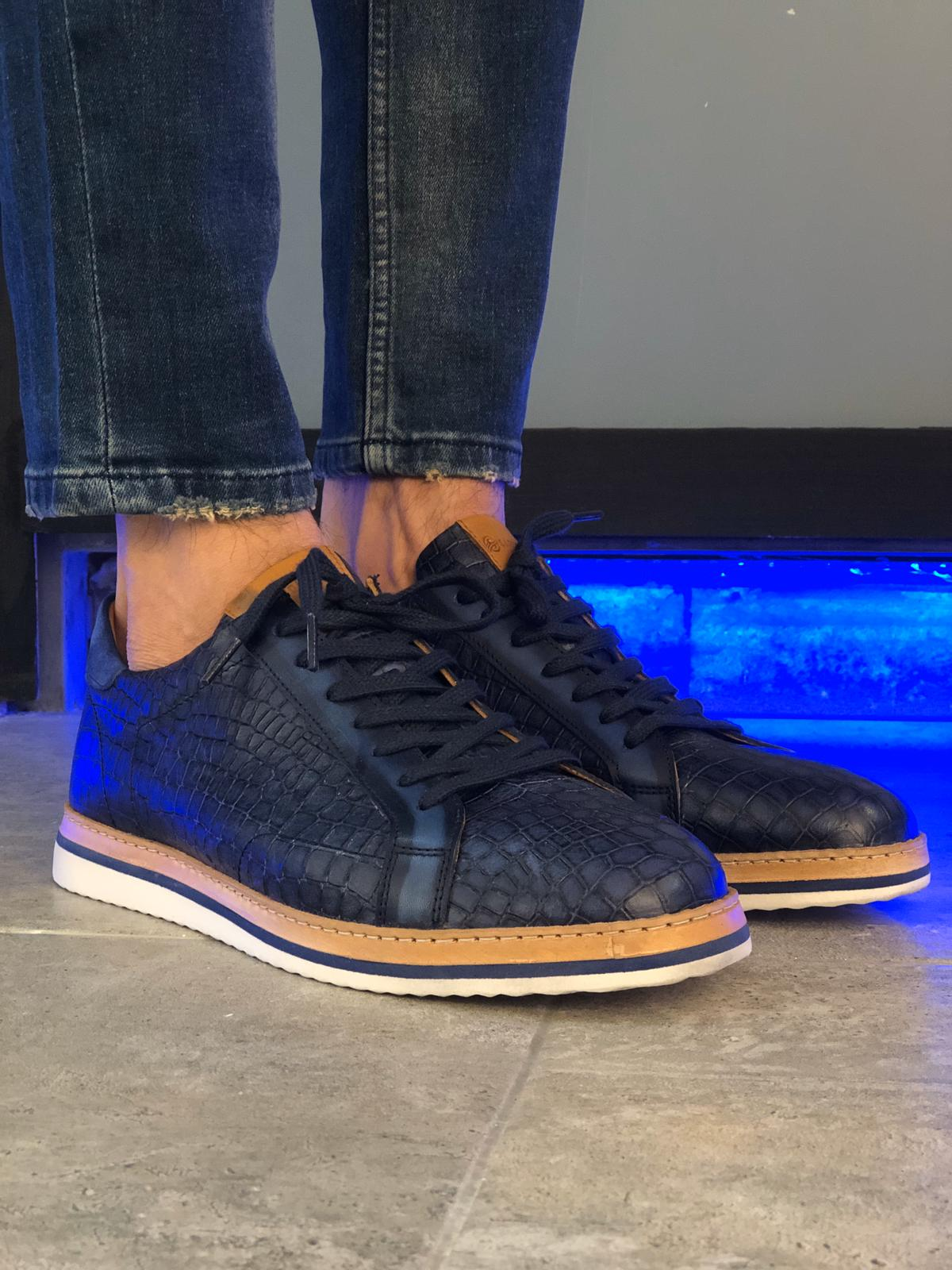 Aysoti Clifton Navy Blue Lace Up Sneakers