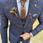 Aysoti Grove Indigo Slim Fit Plaid Patterned Suit